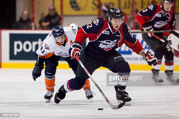 Forward Brendan Lemieux of the Windsor Spitfires moves the puck against forward Will Bitten of the Flint Firebirds on January 21 2016 at the WFCU...