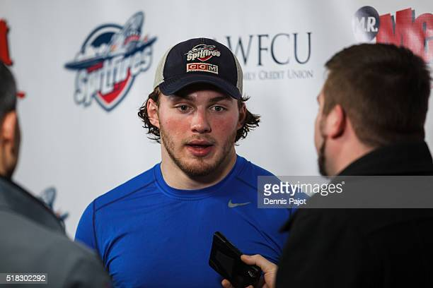 Forward Brendan Lemieux of the Windsor Spitfires speaks to the media after the 54 overtime win over the Kitchener Rangers during game 4 of the...