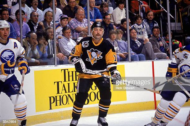 Forward Bryan Trottier of the Pittsburgh Penguins stands ready for play during a game against the Buffalo Sabres during the 1991-92 season at...