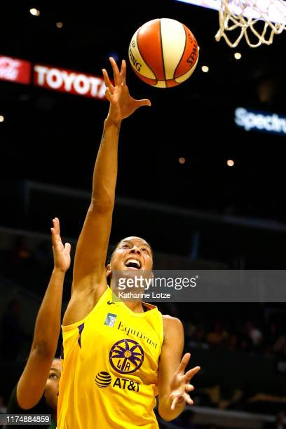Forward Candace Parker of the Los Angeles Sparks goes up for a shot during the second half of Seattle Storm v Los Angeles Sparks Game One at Staples...