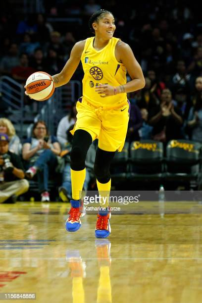 Forward Candace Parker of the Los Angeles Sparks takes the ball down the court during a game against the Washington Mystics at Staples Center on June...