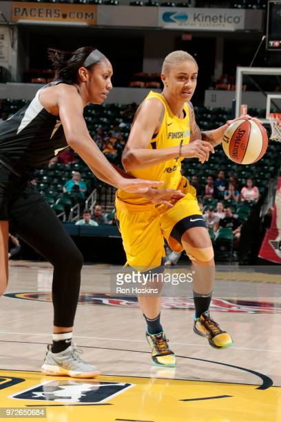 Forward Candice Dupree of the Indiana Fever handles the ball during the game against the Las Vegas Aces on June 12 2018 at Bankers Life Fieldhouse in...