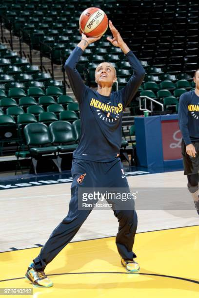 Forward Candice Dupree of the Indiana Fever shoots the ball during warmups before the game against the Las Vegas Aces on June 12 2018 at Bankers Life...