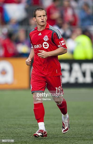 Forward Chad Barrett of the Toronto FC follows the play during the match against the Columbus Crew at BMO Field on May 2 2009 in Toronto Canada The...