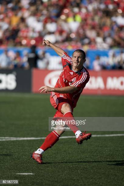 Forward Chad Barrett of Toronto FC watches the play during the match against FC Dallas on August 3 2008 at BMO Field in Toronto Ontario Canada FC...