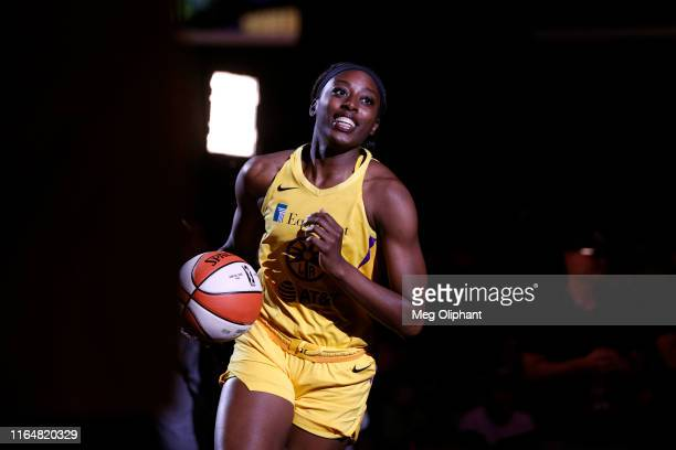 Forward Chiney Ogwumike of the Los Angeles Sparks runs out for the game against the Dallas Wings at Staples Center on July 18 2019 in Los Angeles...