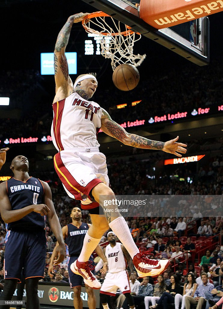 Forward Chris Anderson #11 of the Miami Heat dunks against the Charlotte Bobcats at American Airlines Arena on March 24, 2013 in Miami, Florida.