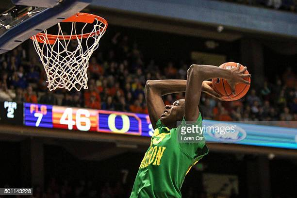 Forward Chris Broucher of the Oregon Ducks takes advantage of a fast break slam dunk during second half action against the Boise State Broncos on...
