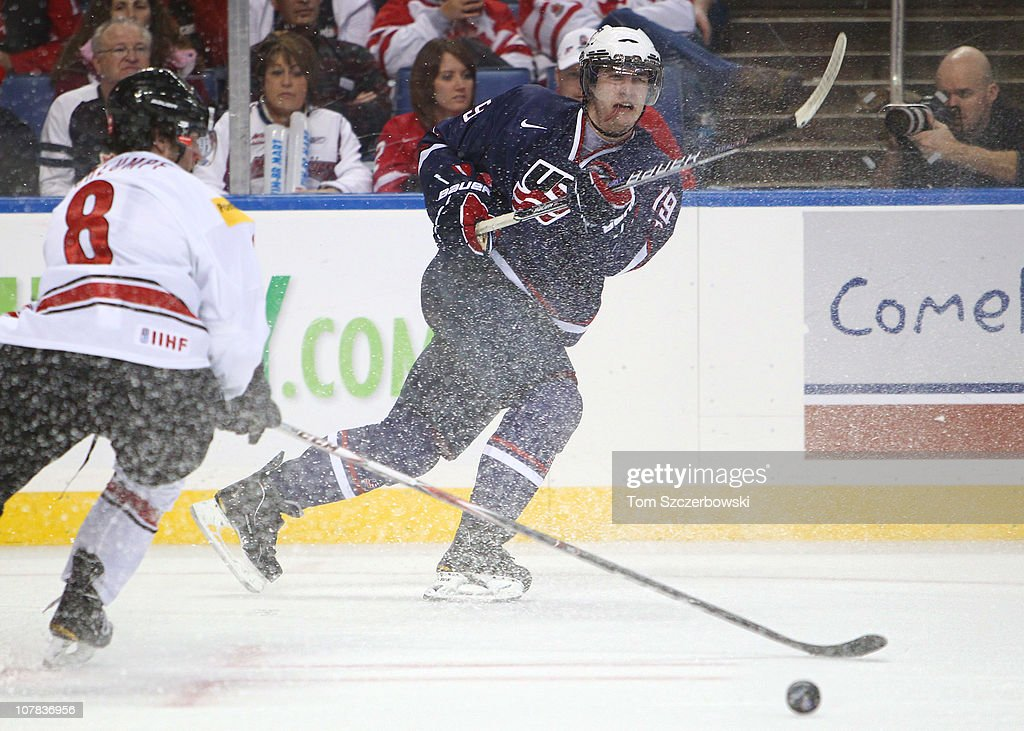 Forward Chris Kreider #19 of USA passes the puck during the 2011 IIHF World U20 Championship game between USA and Switzerland on December 31, 2010 at HSBC Arena in Buffalo, New York.
