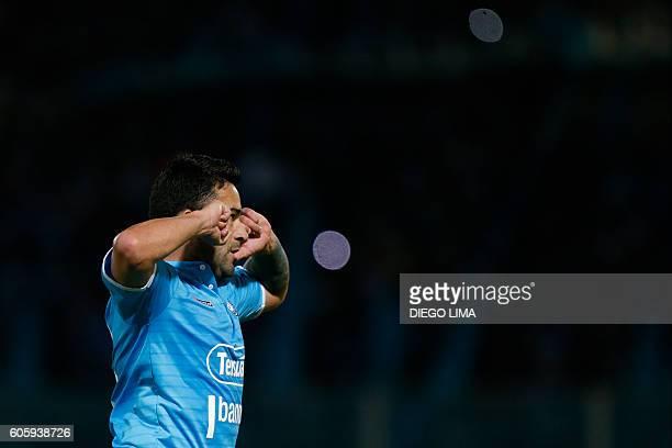 Forward Claudio Bieler of Argentina's Belgrano celebrates after scoring a goal during their Copa Sudamericana football match against Argentina's...