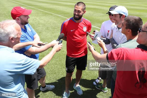 Forward Clint Dempsey fields questions from the media after a training session of the US Men's National Team at Dick's Sporting Goods Park on May 31...