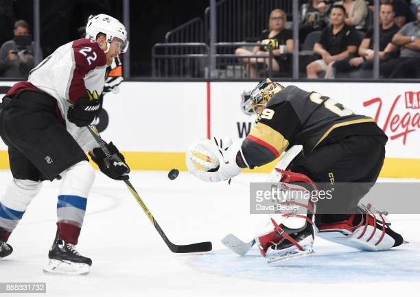 Forward Colin Wilson of the Colorado Avalanche shoots against goalie MarcAndre Fleury of the Vegas Golden Knights during a preseason game at TMobile...