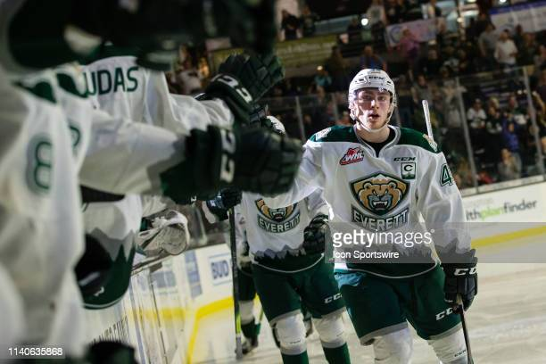 Forward Connor Dewar of the Everett Silvertips skates down the handshake line after scoring a second period goal during Game 5 of the divisional...