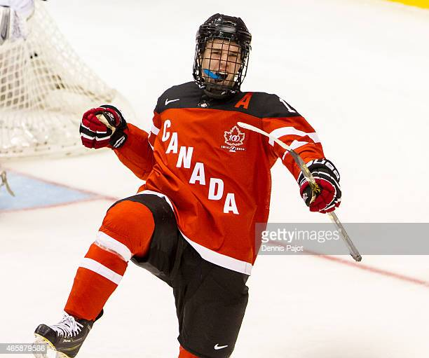 Forward Connor McDavid of Canada celebrates a goal against Denmark during the 2015 IIHF World Junior Championship on January 02 2015 at the Air...