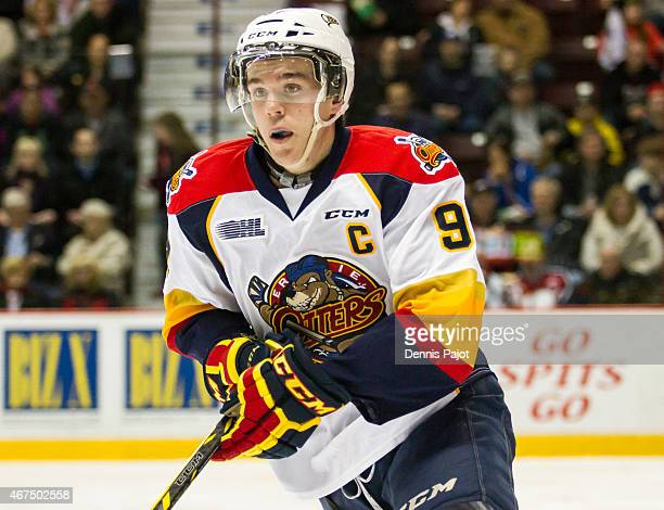 Forward Connor McDavid of the Erie Otters skates against the Windsor Spitfires on March 19 2015 at the WFCU Centre in Windsor Ontario Canada