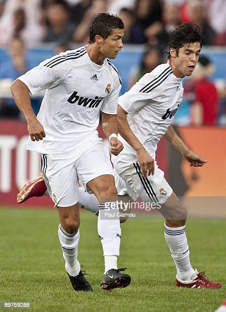 Forward Cristiano Ronaldo and midfielder Kaka of Real Madrid follow the play against the Toronto FC during the friendly match at BMO Field on August...