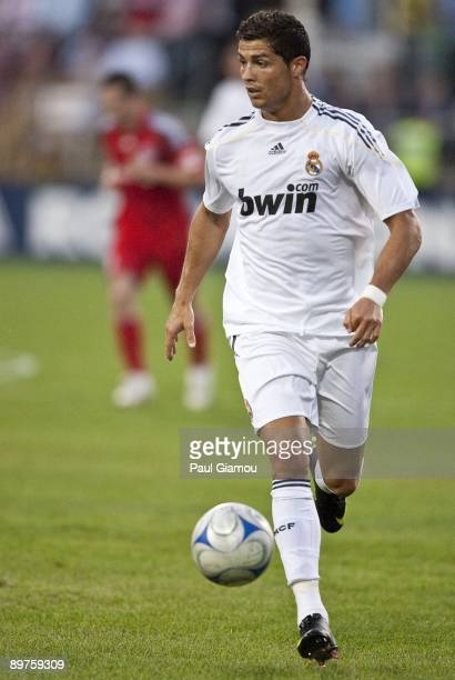 Forward Cristiano Ronaldo of Real Madrid controls the play against the Toronto FC during the friendly match at BMO Field on August 7 2009 in Toronto...