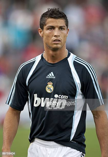 Forward Cristiano Ronaldo of Real Madrid warms up on the pitch before the friendly match against the Toronto FC at BMO Field on August 7 2009 in...