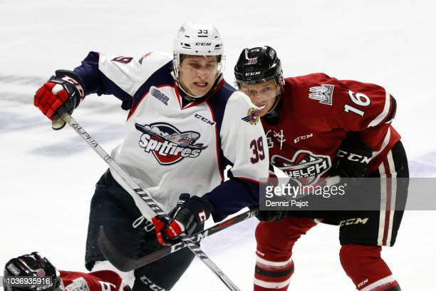 Forward Curtis Douglas of the Windsor Spitfires battles on a faceoff against forward Nate Schnarr of the Guelph Storm on September 20 2018 at the...