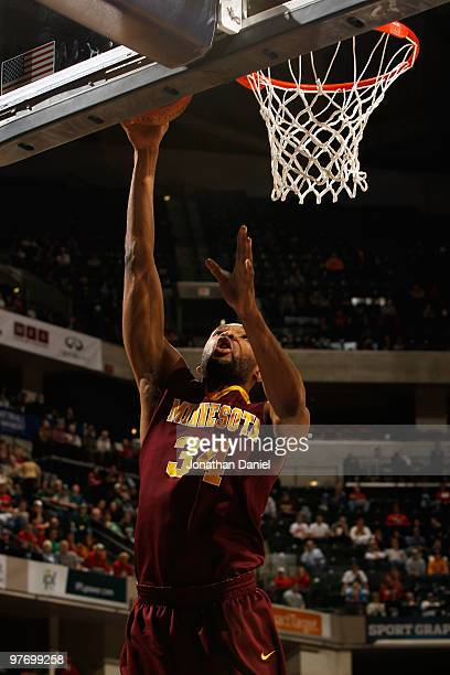 Forward Damian Johnson of the Minnesota Golden Gophers goes up for a shot against the Ohio State Buckeyes in the second half of the championship game...