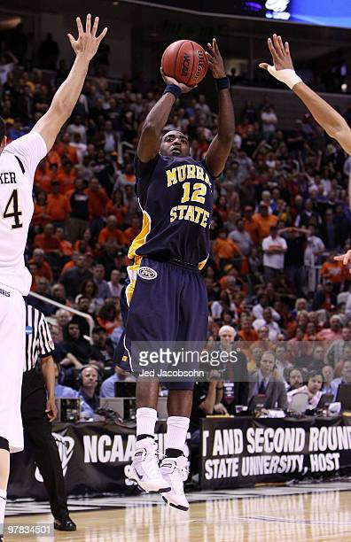 Forward Danero Thomas of the Murray State Racers takes the game winning shot against the Vanderbilt Commodores as time expires during the first round...