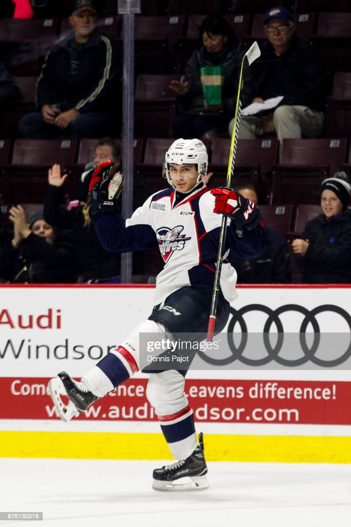 Forward Daniel D'Amico #29 of the Windsor Spitfires celebrates his goal against the Owen SOund Attack on November 16, 2017 at the WFCU Centre in Windsor, Ontario, Canada.