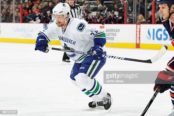 Forward Daniel Sedin of the Vancouver Canucks skates against the Columbus Blue Jackets on February 12 2010 at Nationwide Arena in Columbus Ohio