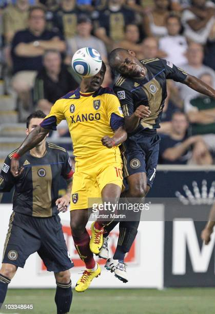 Forward Danny Mwanga of the Philadelphia Union battles forward Robbie Findley of Real Salt Lake during a game at PPL Park on August 11, 2010 in...