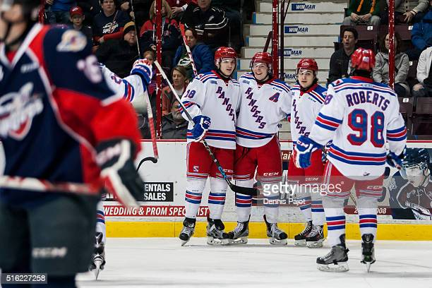 Forward Darby Llewellyn of the Kitchener Rangers celebrates a goal against the Windsor Spitfires on March 17 2016 at the WFCU Centre in Windsor...