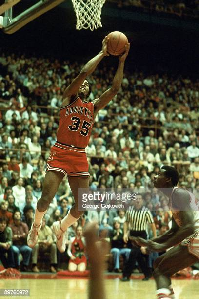 Forward Darrell Griffith of the University of Louisville Cardinals shoots during a college basketball game against the Ohio State Buckeyes at St John...
