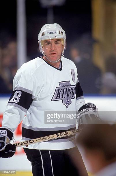 Forward Dave Taylor of the Los Angeles Kings skates during a 1990-91 season game at the Great Western Forum in Inglewood, California.