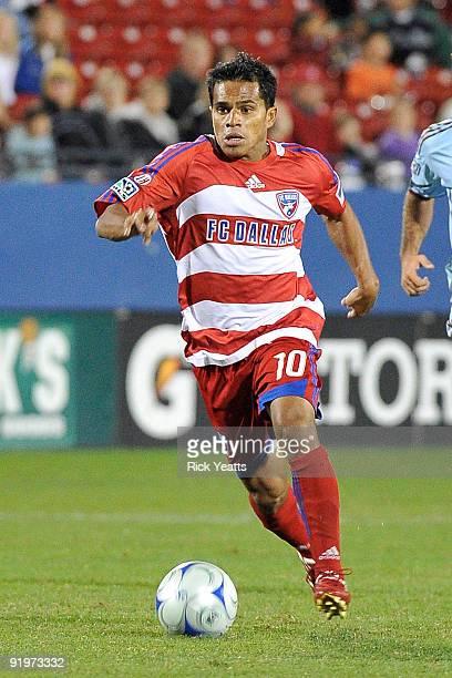 Forward David Ferreira of FC Dallas moves the ball at Pizza Hut Park on October 17, 2009 in Frisco, Texas.