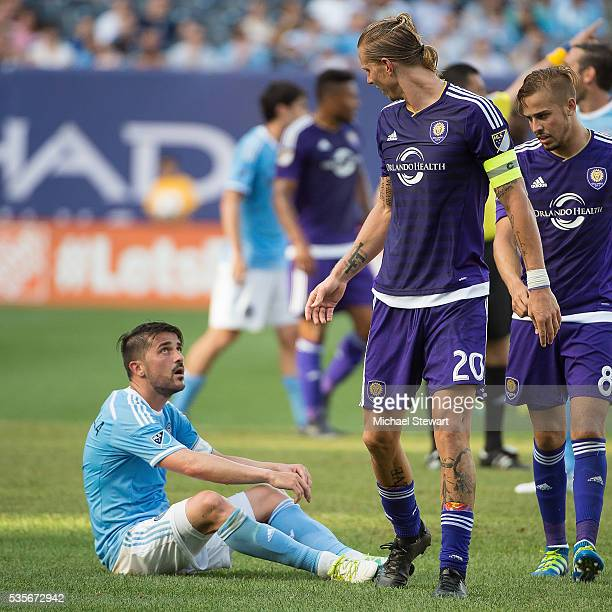 Forward David Villa of New York City FC and forward Brek Shea during the match at Yankee Stadium on May 29 2016 in New York City New York City FC and...