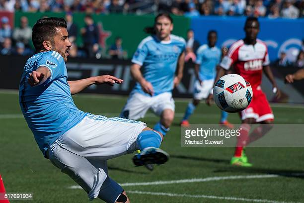 Forward David Villa of New York City FC during the New England Revolution match at Yankee Stadium on March 26 2016 in the Bronx borough of New York...