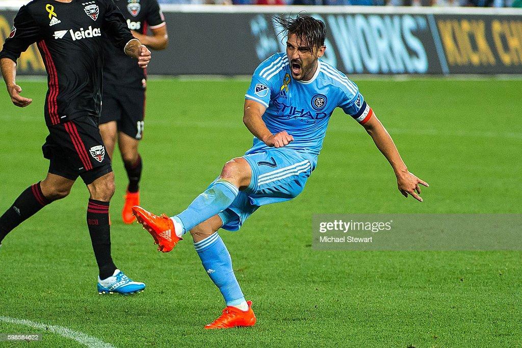 Forward David Villa #7 of New York City FC scores a goal during the match vs D.C. United at Yankee Stadium on September 1, 2016 in New York City. New York City FC defeats D.C. United 3-2.