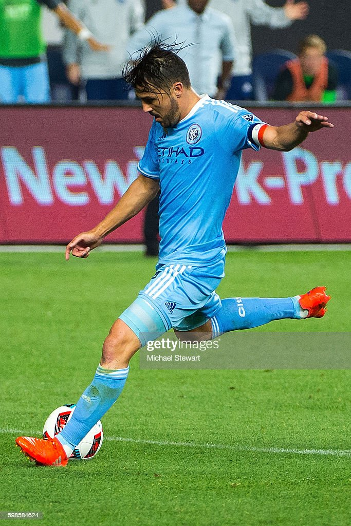 Forward David Villa #7 of New York City FC takes a shot on goal during the match vs D.C. United at Yankee Stadium on September 1, 2016 in New York City. New York City FC defeats D.C. United 3-2.