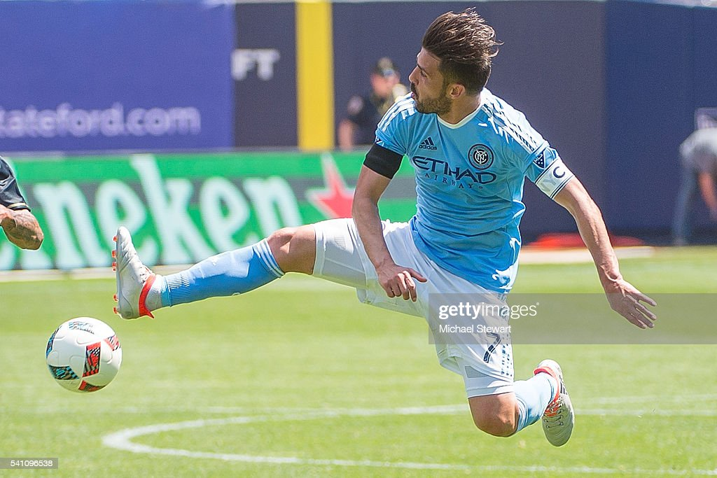 Forward David Villa #7 of New York City FC tries to score during the match vs Philadelphia Union at Yankee Stadium on June 18, 2016 in New York City. New York City FC defeats Philadelphia Union 3-2.