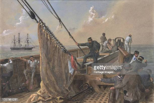 Forward Deck of the Great Eastern Cleared for the First Attempt to Grapple for the Lost Cable, August 11th 1865-66. Artist Robert Charles Dudley.