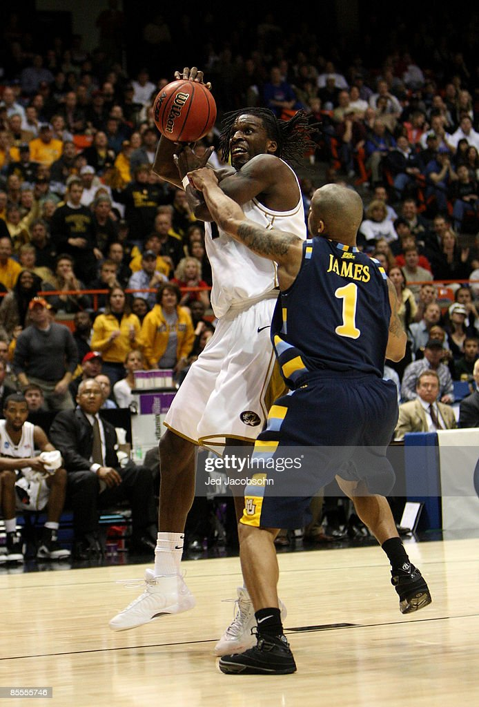 Forward DeMarre Carroll #1 of the Missouri Tigers controls the ball against the Marquette Golden Eagles during the second round of the NCAA Division I Men's Basketball Tournament at the Taco Bell Arena on March 22, 2009 in Boise, Idaho.