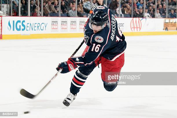 Forward Derick Brassard of the Columbus Blue Jackets shoots the puck against the San Jose Sharks on December 17 2008 at Nationwide Arena in Columbus...