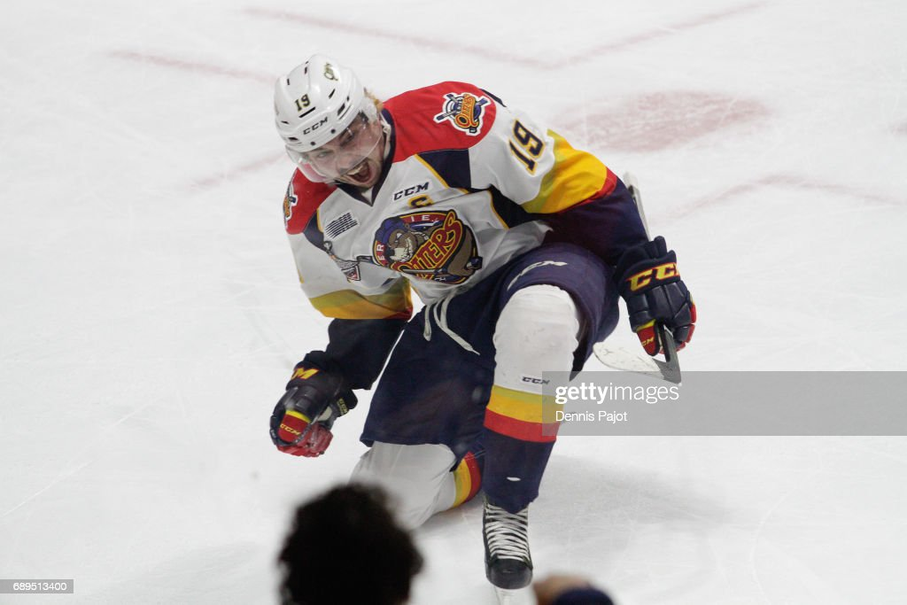 Forward Dylan Strome #19 of the Erie Otters celebrates his first period goal against goaltender Michael DiPietro #64 of the Windsor Spitfires on May 28, 2017 during the championship game of the Mastercard Memorial Cup at the WFCU Centre in Windsor, Ontario, Canada.