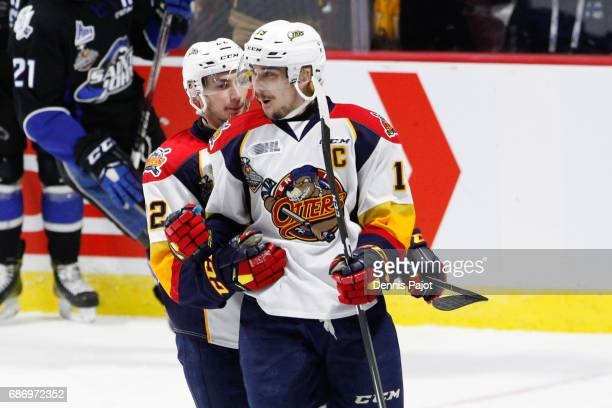 Forward Dylan Strome of the Erie Otters celebrates his second period hat trick goal against the Saint John Sea Dogs on May 22 2017 during Game 4 of...