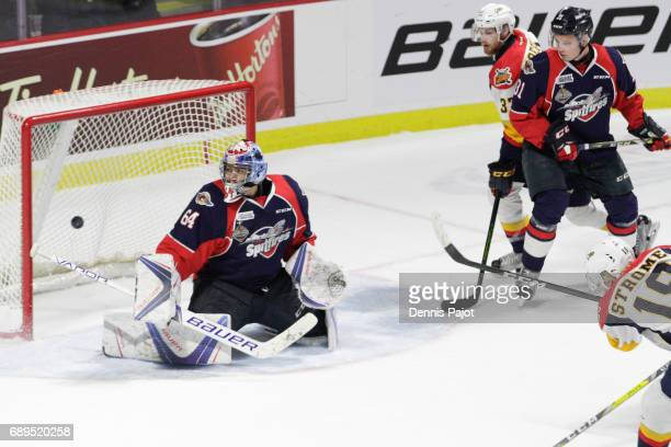 Forward Dylan Strome of the Erie Otters fires his first period goal against goaltender Michael DiPietro of the Windsor Spitfires on May 28 2017...