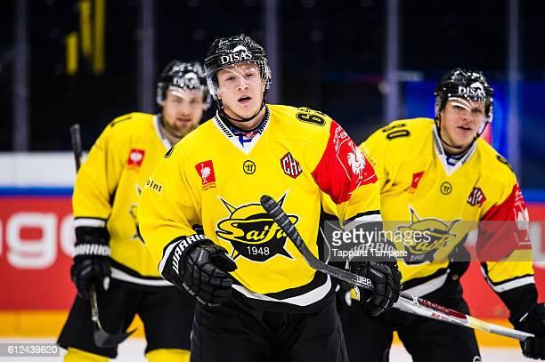 Forward Eetu Koski of SaiPa Lappeenranta scores the 02 goal during the Champions Hockey League Round of 32 match between Tappara Tampere and SaiPa...