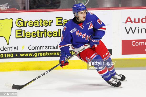 Forward Eric Guest of the Kitchener Rangers skates against the Windsor Spitfires on September 29, 2018 at the WFCU Centre in Windsor, Ontario, Canada.