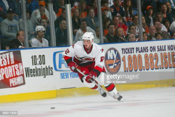 Forward Eric Staal of the Carolina Hurricanes skates on the ice during the game against the New York Islanders on October 8, 2005 at the Nassau...