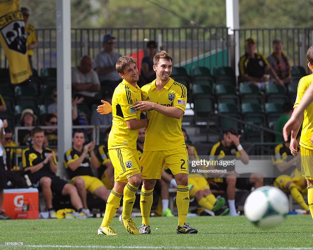 Forward Ethan Finlay #13 of the Columbus Crew celebrates a second-half goal against the Philadelphia Union February 13, 2013 in the second round of the Disney Pro Soccer Classic in Orlando, Florida. Finlay scored twice.