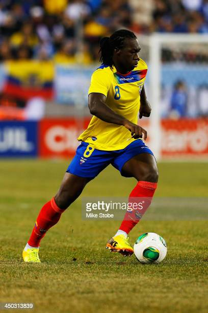forward Felipe Caicedo of Ecuador in action against Argentina during a friendly match at MetLife Stadium on November 15 2013 in East Rutherford New...