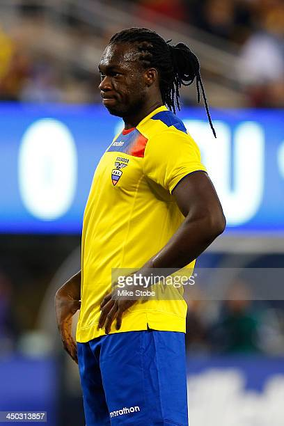 Forward Felipe Caicedo of Ecuador in action against Argentina during a friendly match at MetLife Stadium on November 15, 2013 in East Rutherford, New...