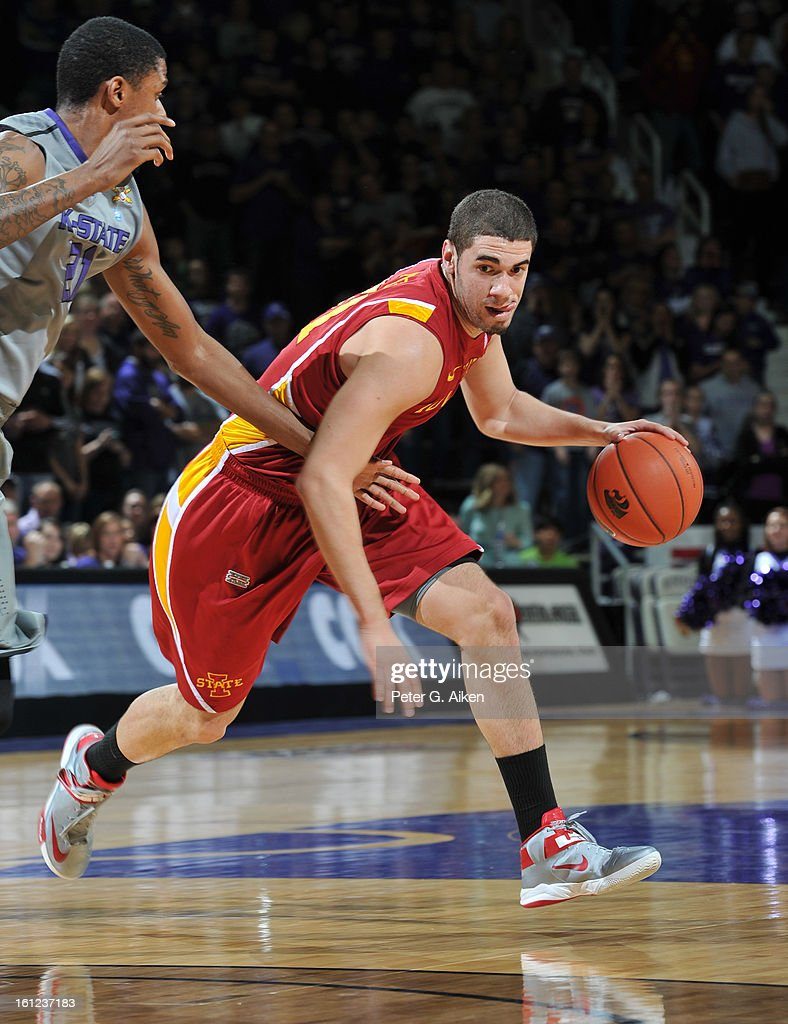 Forward Georges Niang #31 of the Iowa State Cyclones drives with the basketball against the Kansas State Wildcats during the first half on February 9, 2013 at Bramlage Coliseum in Manhattan, Kansas. Kansas State defeated Iowa State 79-70.